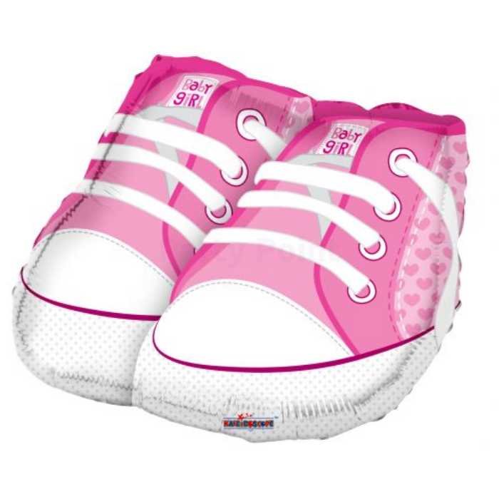 45 cm-es Pink babacipő fólia lufi