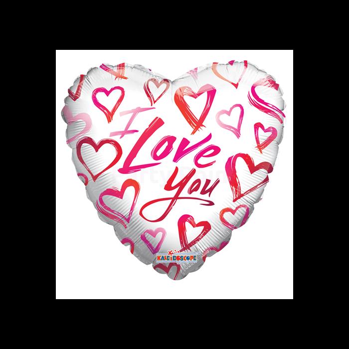 23 cm-es I Love you szívekkel fólia lufi