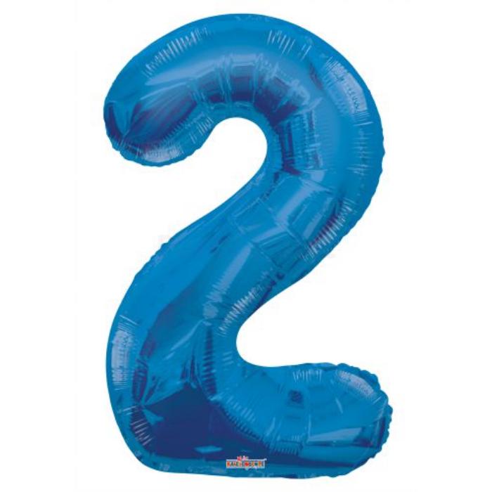 SuperShape - kék 2-es szám fólia lufi
