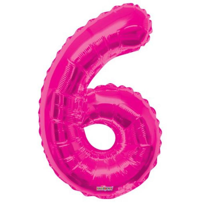 SuperShape - pink 6-os szám fólia lufi