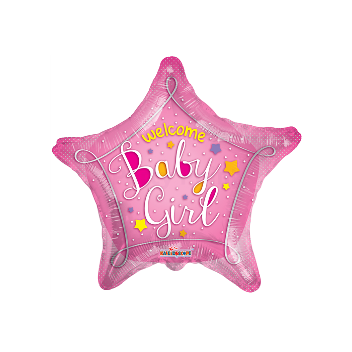 45 cm-es Welcome Baby Girl pink csillag fólia lufi