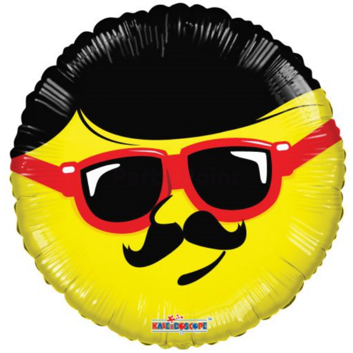 45 cm-es Smiley bajuszos napszemüveges fólia lufi