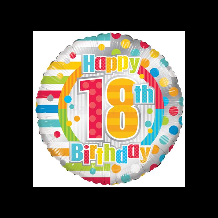 45 cm-es 18. születésnapra csíkos-pöttyös fólia lufi