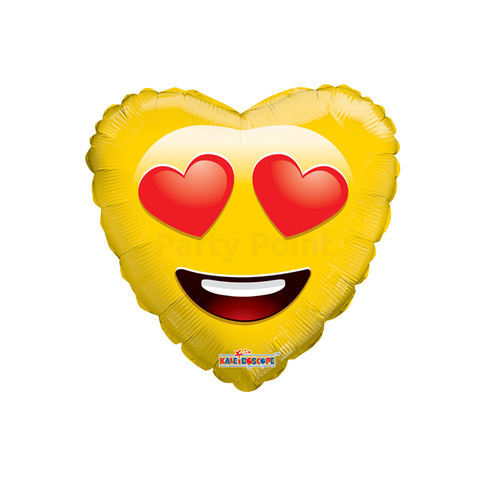 45 cm-es Smiley szerelmes sárga szív fólia lufi