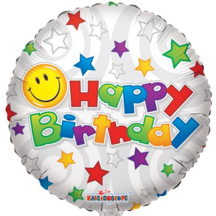 45 cm-es Happy Birthday smiley színes csillagos fólia lufi