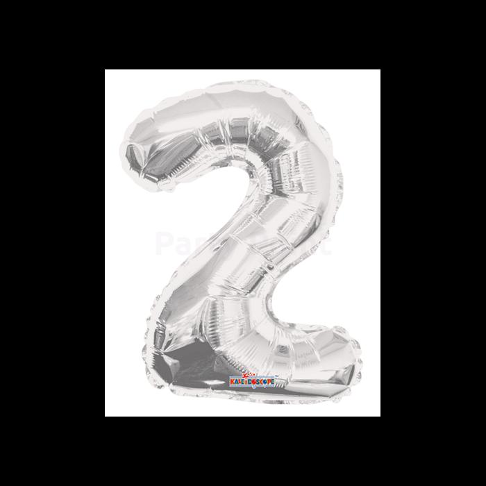 MiniShape - ezüst színű 2-es szám fólia lufi