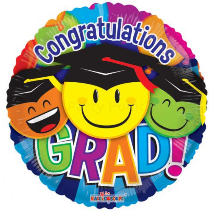 45 cm-es Smiley Congratulations Grad átlátszó fólia lufi