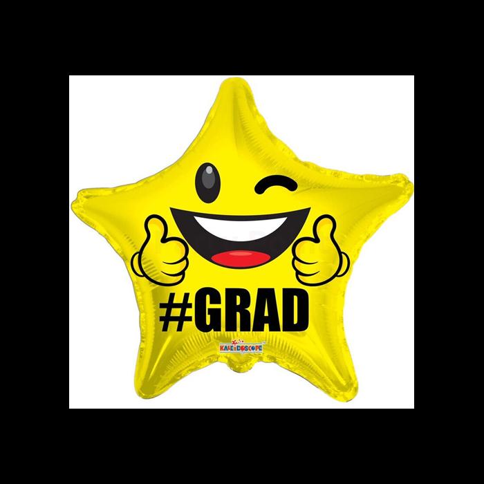 45 cm-es #Grad csillag alakú Smiley fólia lufi