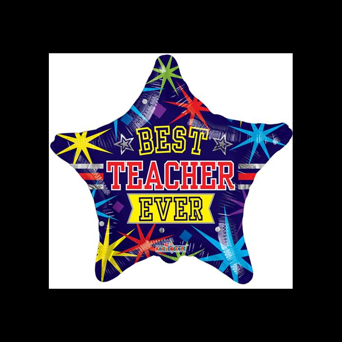 45 cm-es Best teacher ever csillag fólia lufi