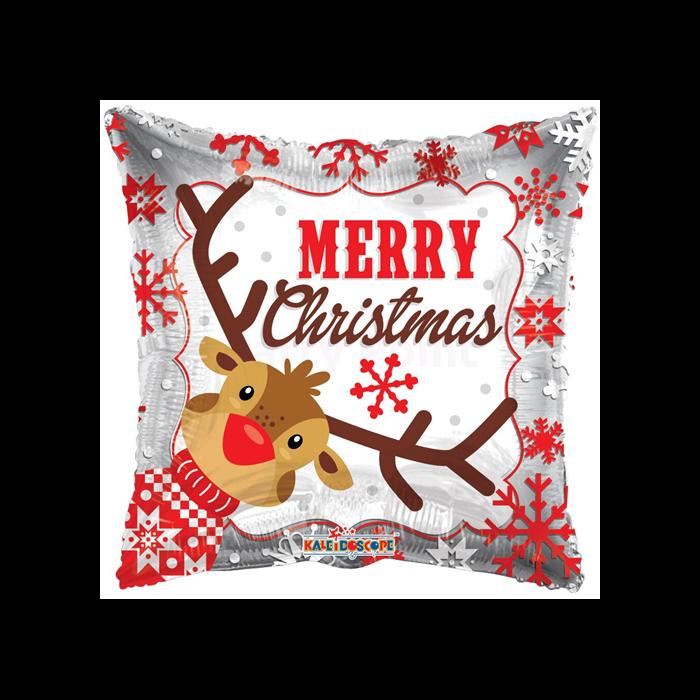 45 cm-es Merry Christmas rénszarvas fólia lufi