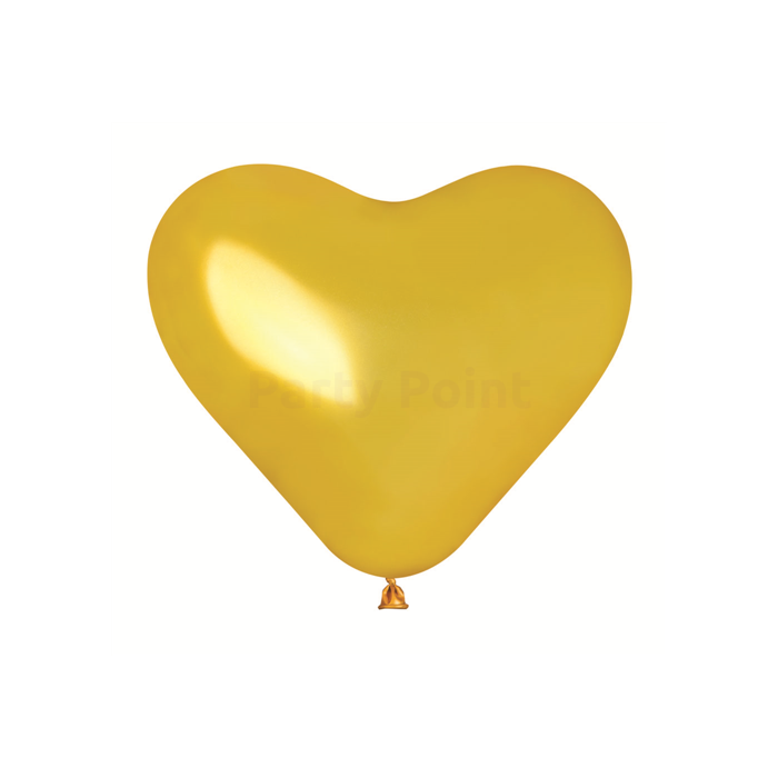 25 cm-es szív alakú metál arany színű gumi léggömb, 100 db