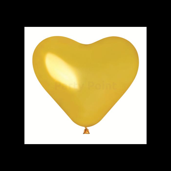 40 cm-es metál arany színű, szív alakú gumi léggömb 50 db/cs.