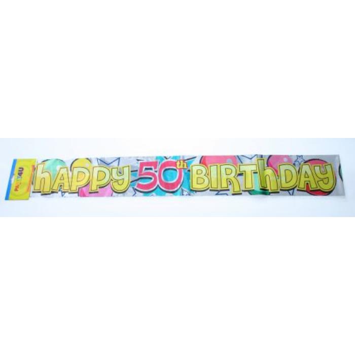 Happy 50. Birthday fólia felirat, 360 cm