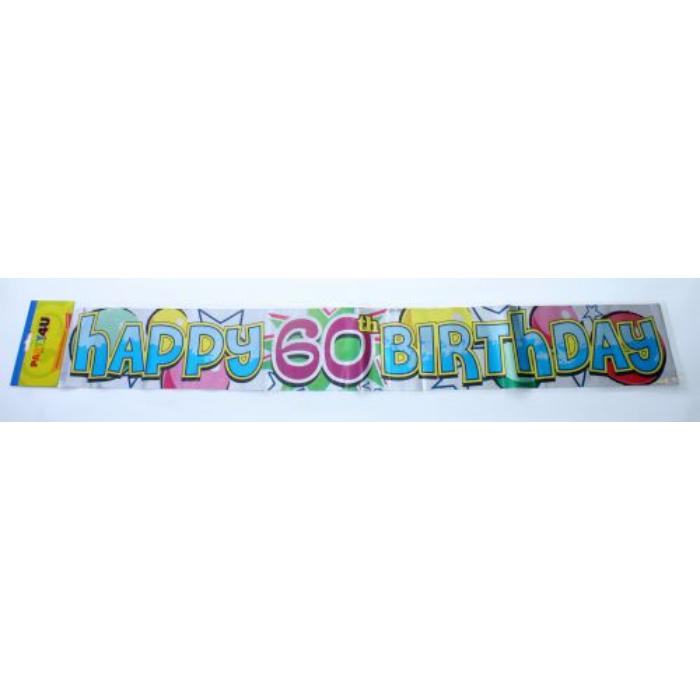 Happy 60. Birthday fólia felirat, 360 cm