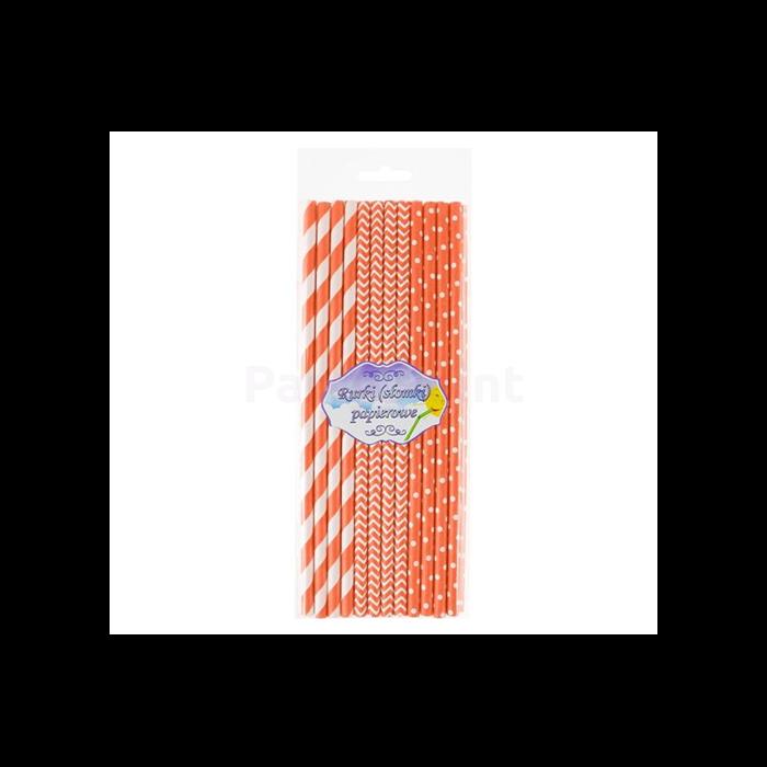 Narancssárga papírszívószál vegyes mintával 24 db/cs 6 x 197 mm