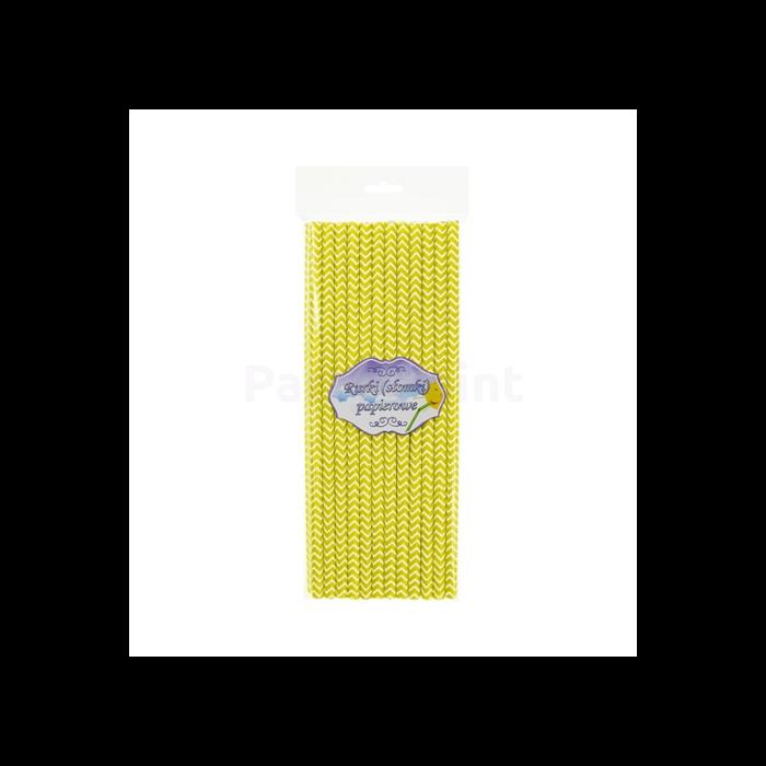 Sárga hullámos papírszívószál - 19,7 cm, 24 db / csomag