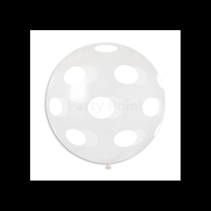 80 cm-es fehér pöttyös crystal gumi léggömb