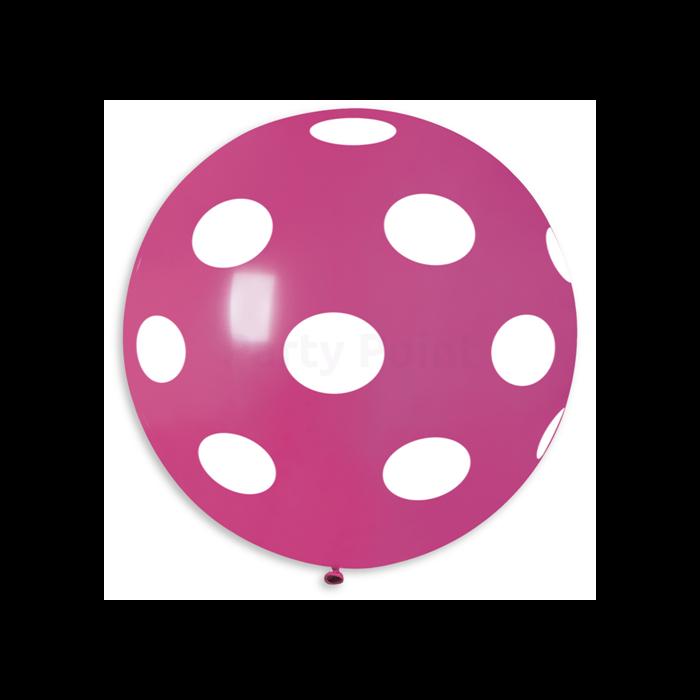 80 cm-es pink teli pöttyös gumi léggömb