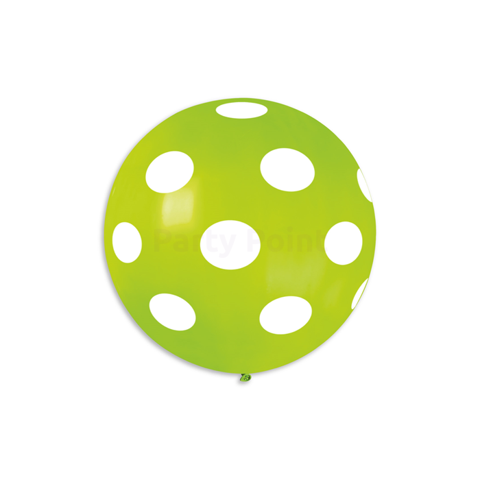 80 cm-es fehér pöttyös lime zöld gumi lufi