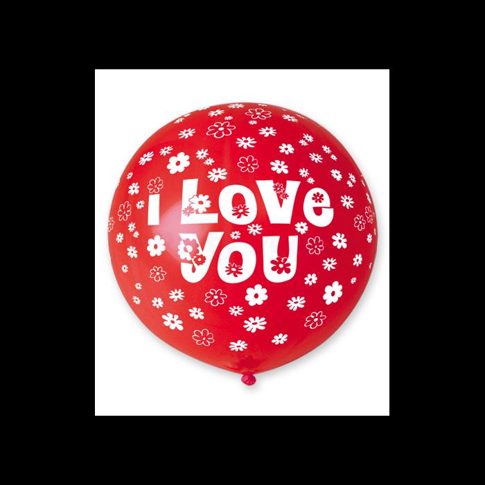 80 cm-es I love you virágos piros gumi léggömb 5 db/cs.