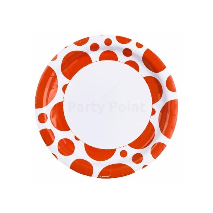 Narancssárga pöttyös tányér 23 cm -es 8 db/cs
