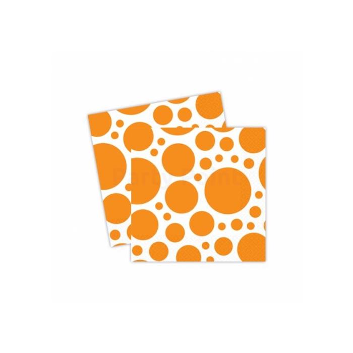 Narancssárga pöttyös szalvéta 33 x 33 cm 20 db/cs
